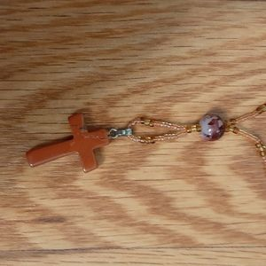 5/50% off beaded cross necklace